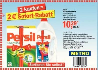 [Metro] Persil Vollwaschmittel, Pulver/flüssig, verschiedene Sorten 0,15 / 0,18 EUR pro WL