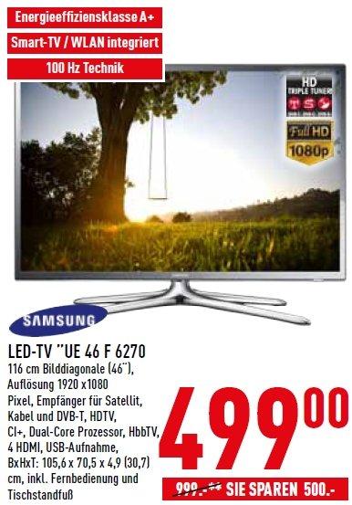 Samsung Smart TV UE 46 F 6270 für nur 499,- Euro