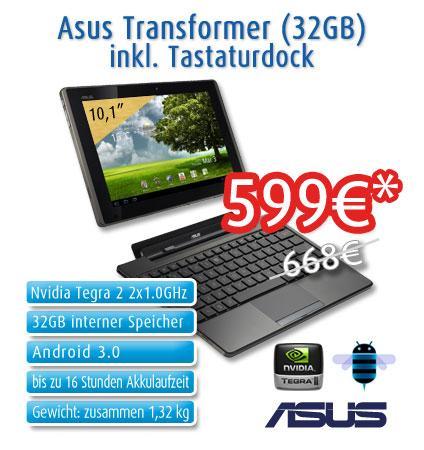 ASUS Transformer Tablet 32GB + Tastatur Dock im Bundle