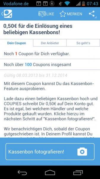 Coupies - 0,50€ für beliebigen Kassenbon - somit 0,50€ geschenkt