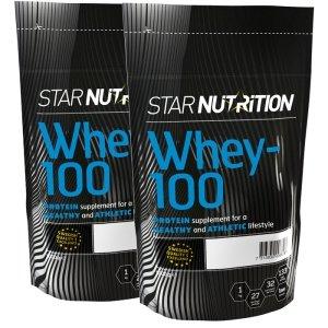 2 x Whey-100, 1 kg, 2 für 1 - 50% Rabatt