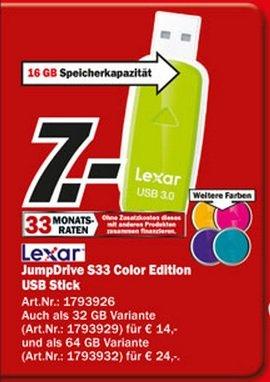 Lexar JumpDrive S33 USB 3.0 Stick 16GB für 7€ Lokal [Mediamarkt Duisburg Essen Mülheim Velbert Recklinghausen Dorsten Mannheim Heppenheim Worms Ludwigshafen Ulm]