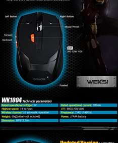Black 2.4GHZ Wireless Control Adjustable DPI 800/1200/1600 Gaming Mouse For PC