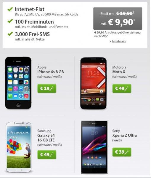 Iphone 4s /  Moto X / Xperia Z Ultra / S4 + brauchbarer Vertrag mit Gewinn bei Handyverkauf @Sparhandy