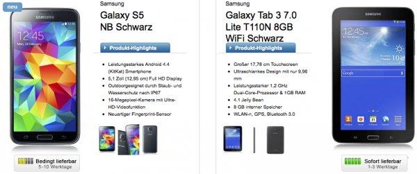 Galaxy S5 + Tab 3 7.0 T110N im Telekomnetz [Allnet-Flat] [