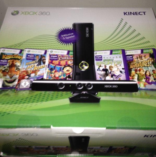 Xbox 360 12gb + kinect + 5 xbox kinectspiele