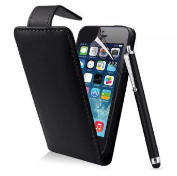 iPhone 5s Lederhülle + Schutzfolie + Eingabestift! Für EUR 0,99 + EUR 3,00 Versandkosten auf Amazon