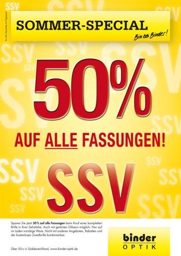 Offline Bundesweit 50% auf Brillenfassung bei Binder Optik