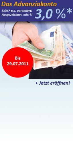 Advanziakonto Tagesgeld 3%