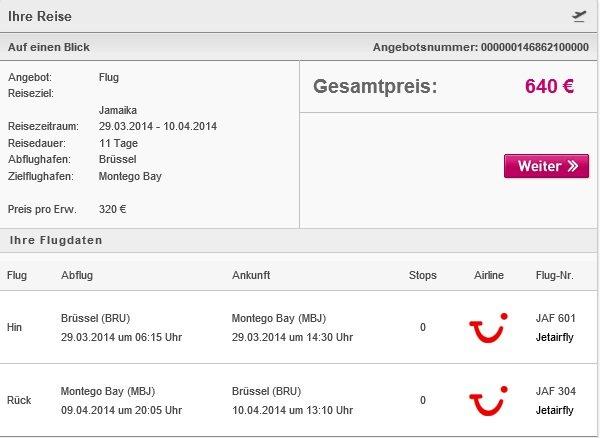 Jamaika Flug Brüssel-Montego Bay 320€ JETAIRFLY