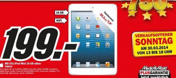 iPad Mini 16GB WiFi für 199€ Lokal Sonntagsangebot [Mediamarkt Herzogenrath]