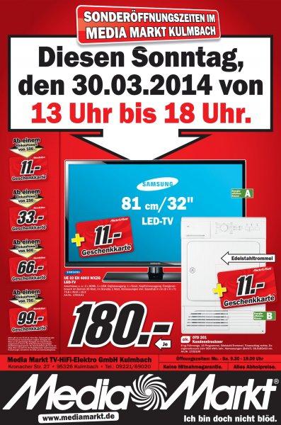 Jeweils Samsung LED-TV 32 Zoll; OK. Kondenstrockner [ Mediamarkt 95326 Kulmbach am 30.03. ]