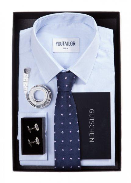 [YOUTAILOR] Maßhemd + seidene Krawatte + Manschettenknöpfe + Maßband + 25% Gutschein aufs nächste Maßhemd für 59 €
