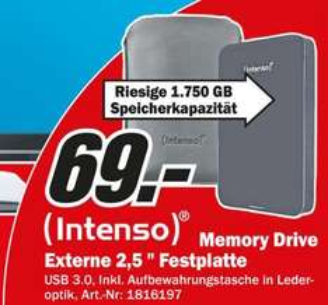 """INTENSO Externe Festplatte Memory Drive 1,75 TB 2,5"""" [LOKAL Mediamarkt Zwickau ]"""