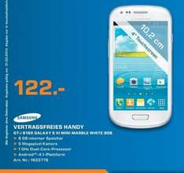 Samsung Galaxy S3 Mini 8GB für 122€ Lokal [Saturn Neckarsulm]