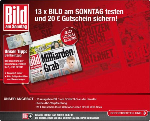 13 Bild am Sonntag incl. Bild+ incl 20€ Amazon oder Media Markt Gutschein für 22,10 € bzw 17,10€
