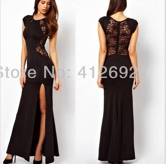 Rundhals Langarm Kleid mit Spitzer Nähte 7.38€