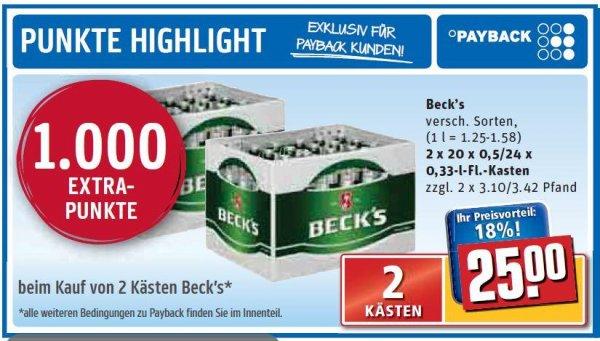 2 Kästen Beck`s (versch. Sorten) für 14,88 EUR (zzgl. Pfand) @REWE