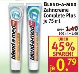 [Rossmann offline] Blend-a-med Zahncreme Complete Plus für 0,29€ (mit P&G /  forme Coupon)
