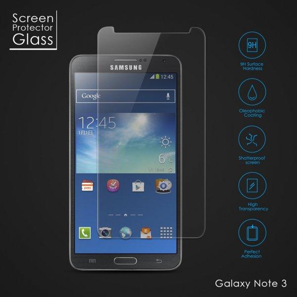 amzdeal® Hartglas Folie Schutzglas Displayschutz Folie aus gehärtetem Glas 0,26mm dünn für iPhone 5, iPhone 5s, iPhone 5c, Samsung Galaxy S4 I9500, Samsung Galaxy Note 3 N9000 - 7,99€