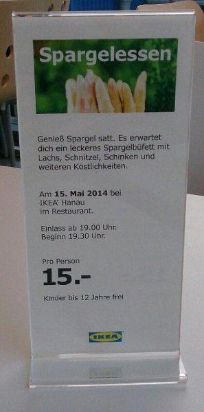 (Spargel-)All you can eat @ Ikea Hanau für 15€ [lokal]