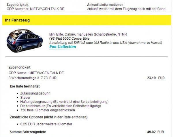 Mit Hertz und Mietwagen-Talk Fiat 500 Cabrio oder Toyota F86 fahren.