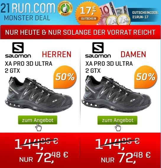 Salomon XA Pro 3D Ultra 2 GTX -50% statt 144,95€ nur 72,48€ bei www21run.com +17€ Gutschein