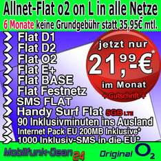O2 Business L Allnet/SMS/InternetFlat 5GB Volumen (LTE) + EU Paket = 21,99/Monat