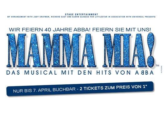 """STAGE """"Mamma Mia!"""" in Stuttgart: 2 Tickets PK1 für 102,18€ (oder z. B. PK3 für 81,48€)"""
