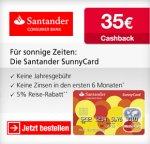 [Qipu] Dauerhaft kostenlose Santander SunnyCard (MasterCard) Kreditkarte + 35,- Euro Cashback