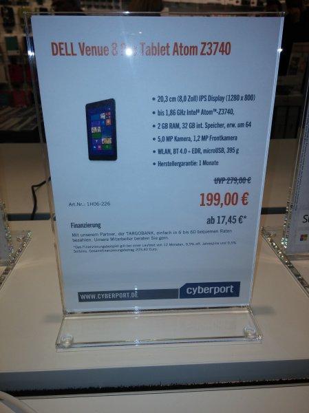 [Lokal Cyberport Berlin] Dell Venue 8 Pro für 199€