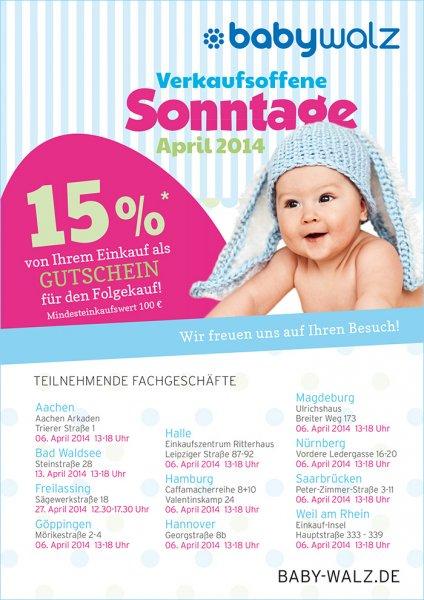 Baby Walz (offline, lokal) 15% Gutschein für Folgekauf (ab 100 Euro) am vk-offenen Sonntag