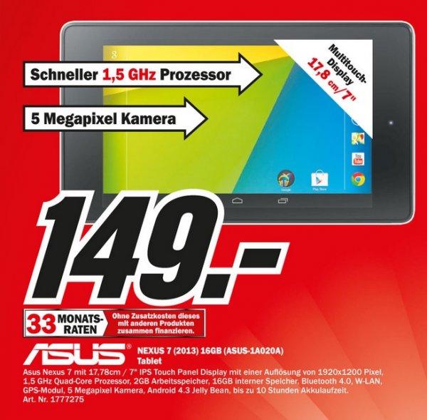 Asus Google Nexus 7 (2013) WiFi 16GB für 149€ Lokal [Mediamarkt Porta Westfalica/Minden]