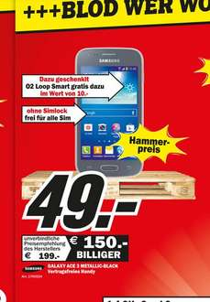 [Lokal Mediamarkt Heppenheim] Samsung Galaxy Ace 3 LTE Metallic Black für 49€
