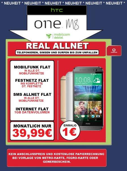 [Saturn Heidelberg] HTC ONE M8 inkl. Vodafone Allnet Flat mit 1GB Data für 1€ !!!