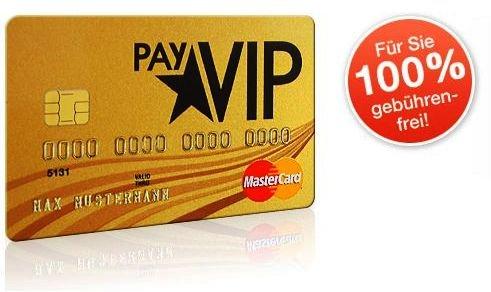 """Dauerhaft kostenfreie Kreditkarte """"PayVIP"""" MasterCard GOLD + 20€ Amazon.de-Gutschein"""