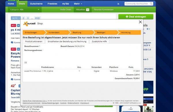 avast Pro Antivirus 1PC, 2 Jahre für 19,99€ über den avast Free Antivirus (Win)