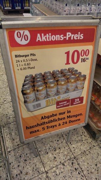 [Lokal? Globus Kaiserslautern] Palette Bitburger Dosen (24x0,5l) für 10 Eur plus 6 Eur Pfand