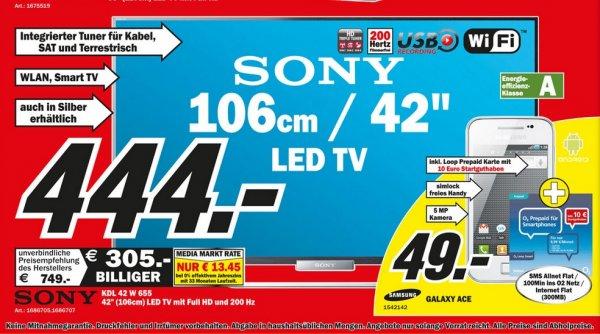Sony KDL-42W655 für 444€ und weitere SUPER ANGEBOTE! Lokal [Mediamarkt Worms]