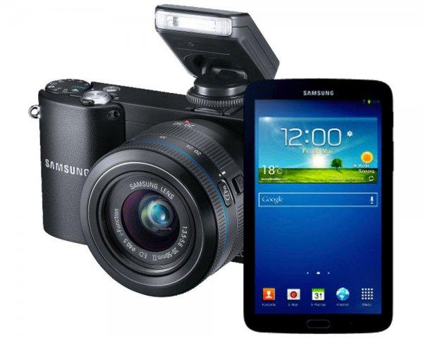 Samsung NX 1100 mit Samsung Galaxy Tab 3 7.0 Zoll als Kit in schwarz