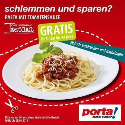 [Porta] Pasta mit Tomatensoße für Kinder bis 14 Jahre Kostenlos im Porta Restaurant!