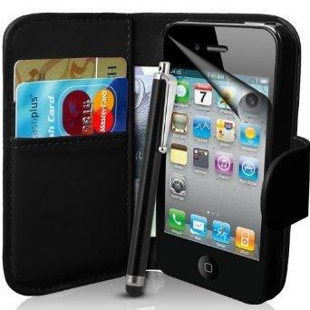 Hülle für Apple iPhone 4s und 4, Buch-Stil Tasche in Lederoptik, Mit Eingabestift und Displayschutzfolie