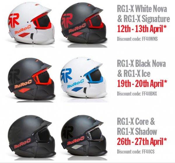 Ruroc Helme, verschieden Farben und Modelle