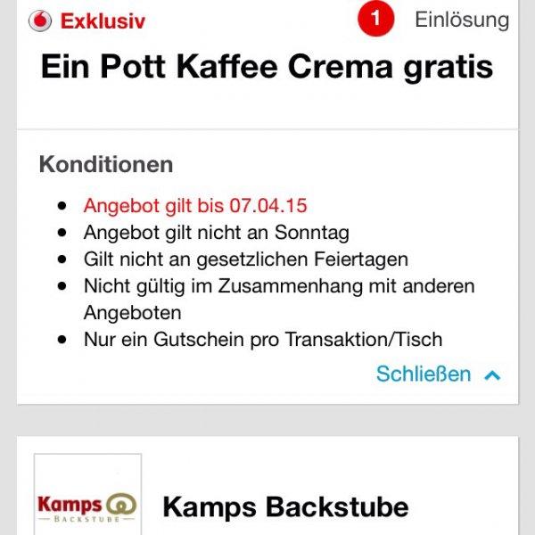 Kamps: wieder Kaffe Crema + Wuppi gratis über Vouchercloud