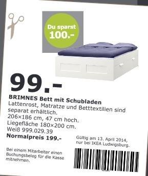 [IKEA LUDWIGSBURG] Brimnes Bett mit Schubladen für 99,- statt 199,- + 2. Matratze zum halben Preis! V-O-S 13.04.14