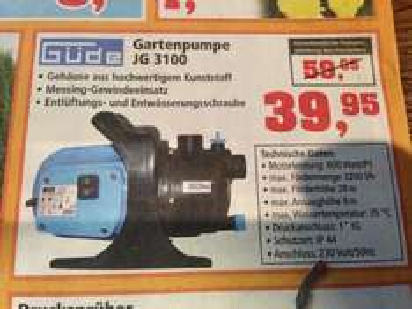 [Lokal 11.4. + 12.4.  -  Thomas Philipps] Güde Gartenpumpe JG 3100