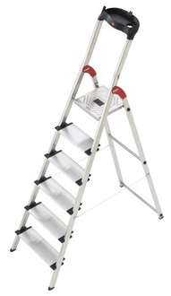 Hailo 8816-001 Alu-Sicherheits-Haushaltsleiter - 6 XXL-Stufen mit Multifunktionsschale