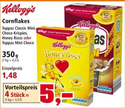[Thomas Philipps] Kelloggs Cornflakes versch. Sorten 350g 1,48€ bzw 4 Pck=5€