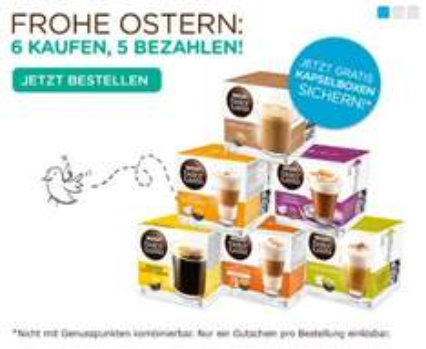 Nescafé Dolce Gusto OSTER-ANGEBOT: 6 Kapselboxen bestellen, nur 5 bezahlen!