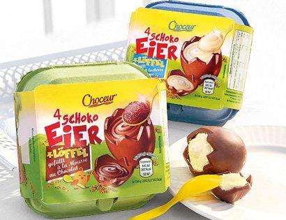CHOCEUR®  Schoko Eier mit Löffel bei Aldi Süd ähnlich dem Milka Original